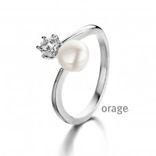 Orage ring zilver parel zirconia - 608458