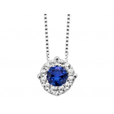 You & Me collier wit goud zirconia blauw - 609004