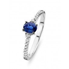 You & Me ring goud briljant blauwe saffier - 607240