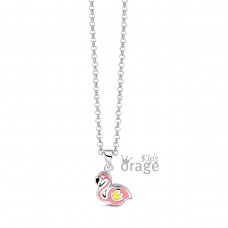 Orage Kids collier zilver roze flamingo - 607521
